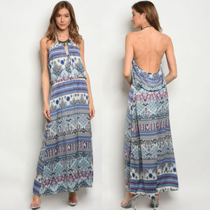 Boho maxi dresses, sleeveless maxi dress, Backless